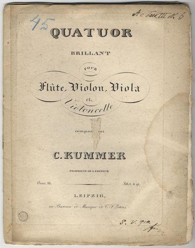 Leipzig: Bureau de Musique de C. F. Peters , 1824. Folio. Unbound. Flauto: (title), (blank), 3-9, (b...