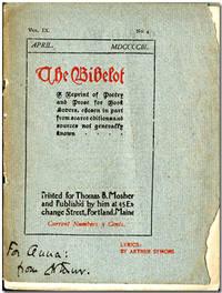 LYRICS BY ARTHUR SYMONS [wrapper title] published as THE BIBELOT...IX:4