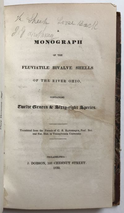 Philadelphia: J. Dobson, 1832. About very good.. 72pp., plus frontispiece plate. Sympathetically reb...