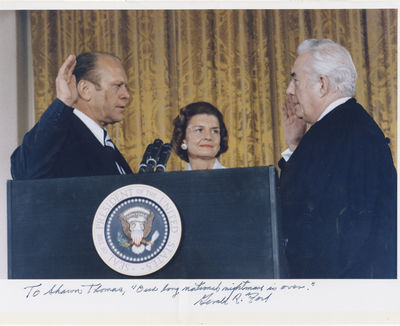 1974. Gerald Ford An imposing, oversize color photograph, and the only autograph quotation signed of...