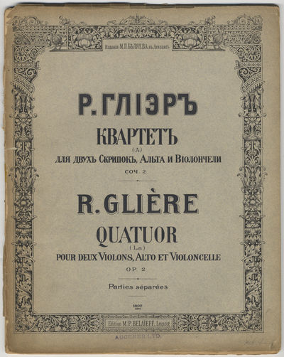 Leipzig: M. P. Belaieff , 1902. Folio. Unbound. Original gray wrappers with bilingual titling (Russi...