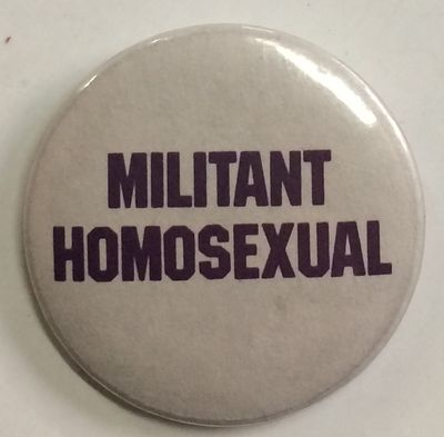 West Orange, NJ: Ferne Sales & MFG. CO. INC, n.d.. 1.25 inch diameter pin, purple text on grey field...