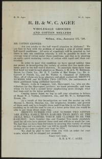 R.H. & W.C. Agee: Wholesale Grocers and Cotton Sellfrs