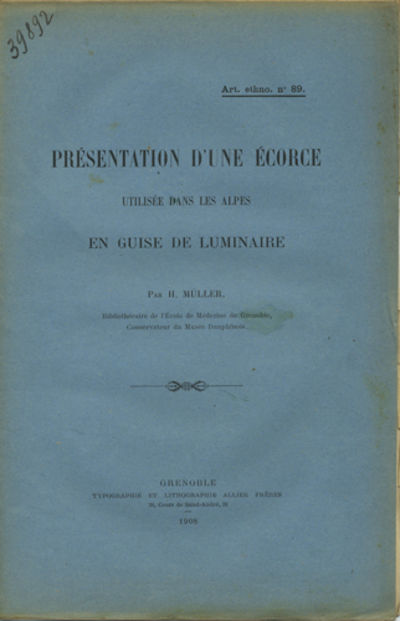 Grenoble: Typographie et Lithographie Allier Frères, 1908. Offprint. Paper wrappers. A very good co...
