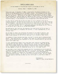 image of Report of Women's Caucus to the Assembly of the National Council of Churches of Christ, Dallas, Texas, December 6. 1972