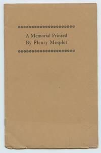 image of A Memorial Printed By Fleury Mesplet