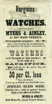 Sales flyer for Arundel Tinted Spectacles (early sunglasses) at  Myers & Ainley, Poughkeepsie, NY