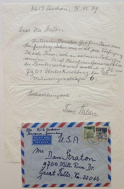 Aschau im Chiemgau, Germany, 1969. unbound. 1 page on onionskin paper, 11 x 8.25 inches, Aschau im C...