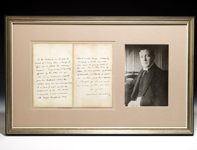 1928. Signed. CHURCHILL, Winston. Autograph letter signed. London, April 16, 1928. One folded leaf, ...