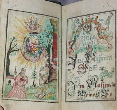 Wellrichstait (?), Germany , 1768. Full Calf. Card stock slipcase. . Very Good. As fine a folk art G...