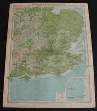 """image of Map of South East England and East Midlands from the 1920 Times Atlas (Plate 18 """"England & Wales - South-Eastern Section"""") extending as far north as Nottingham and Newark only and including the Channel Islands"""
