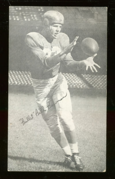 Unbound. Picture postcard of Bowman receiving a pass. On the verso the card is Inscribed by Bowman, ...