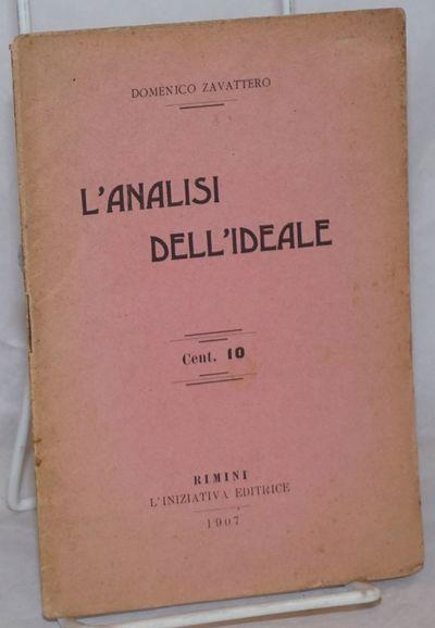 Rimini, Italy: L'Iniziativa Editrice, 1907. Pamphlet. 31p., stapled wraps, 4.5x6.75 inches, wraps wo...