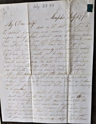 Memphis, 1857. 4to. letter sheet. 250 x 195 mm., . 4 pp. about 840 words. Folded in thirds. Writ...