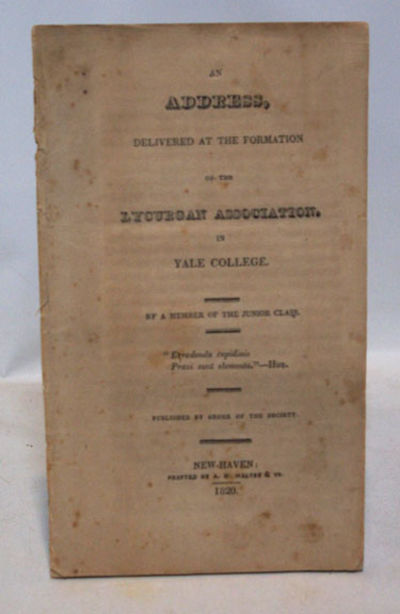 New Haven, Conn.: Printed by A. H. Maltby & Co., 1820. First Editiion. Very good in printed self wra...