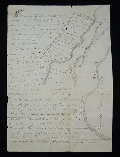 A Gold Rush Manuscript Land Survey . . Two pages on a single sheet (17 1/8 x 10 7/8 in.; 438 x 275 m...