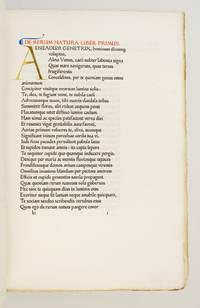 (ASHENDENE PRESS). DE RERUM NATURA LIBRI SEX An Especially Pleasing Copy of One of the Scarcest Ashendene Titles