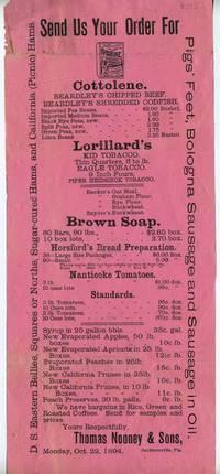 image of Send Us Your Order For .... Lorillard's Kid Tobacco, Eagle Tobacco, Piper Heidsieck Tobacco.  1894 Broadside advertising Florida tobacco grower Thomas Nooney & Sons