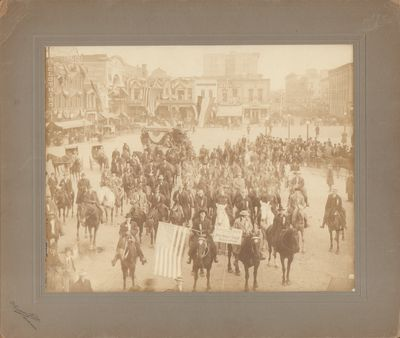 Springfield, MO: Duncan Studio. Photograph of the Anti Horse Thief Association mounted on gray cardb...