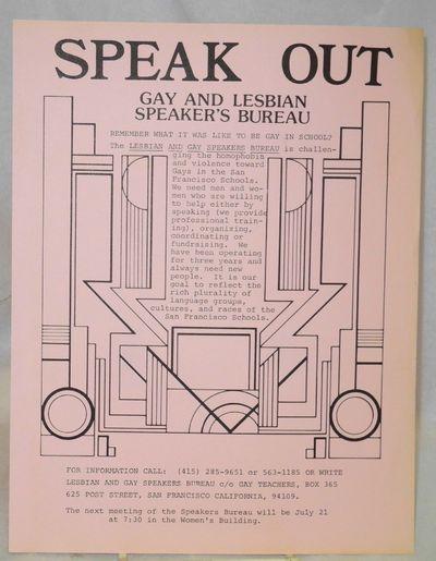San Francisco: Gay and Lesbian Speaker's Bureau, 1980. handbill leaflet. 8.5x11 inch handbill/leafle...