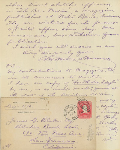 In fine condition, with the original postmarked envelope.. Single 10 x 8 inch sheet, folded to make ...