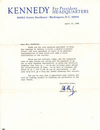 Typed Letter Signed April 27, 1968 on Kennedy For President Letterhead with Related  Campaign Materials