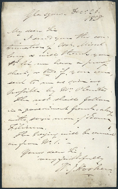 Glasgow, 1828. Hooker, William Jackson (1785-1865). Autograph letter signed to Richard Taylor (1781-...