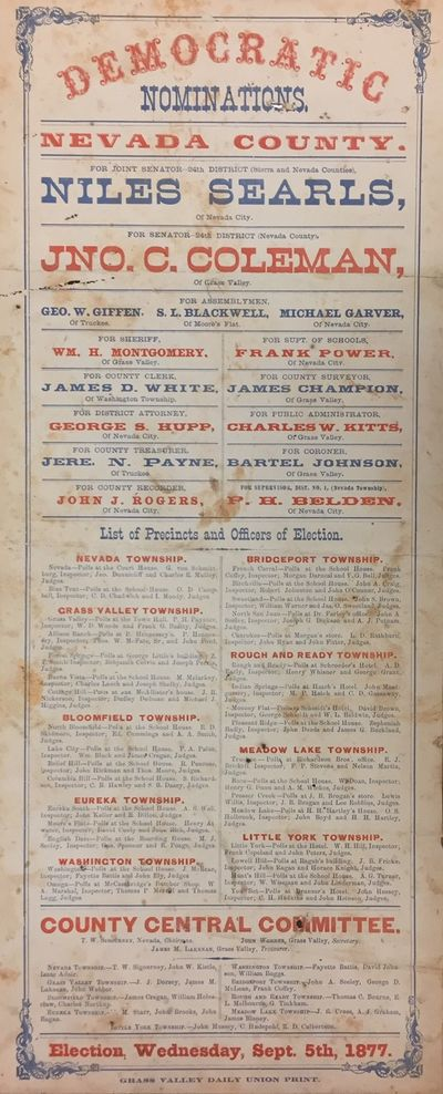 Grass Valley Daily Union Print. 1877. Broadside. Broadside on thick paper with red and blue text and...