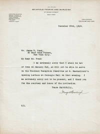 image of TYPED LETTER SIGNED by the director of the Lackawanna Steel Company GEORGE WILLIAM BURLEIGH regretting that he won't be able to serve on the Honorary Reception Committee for Maurice Maeterlinck.
