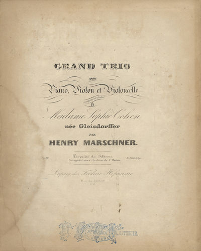 Leipzig: Fréderic Hofmeister , 1841. Folio. Piano part in black cloth-backed purple marbled boards ...
