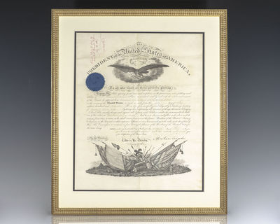 July 5, 1862. Rare military commission boldly signed by Abraham Lincoln as President July 5, 1862 an...