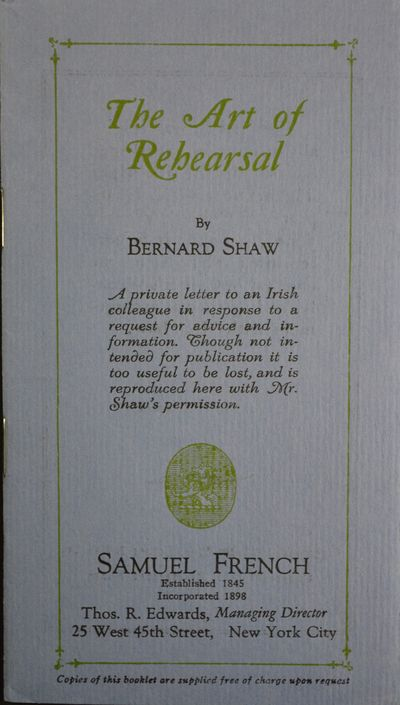 New York: Samuel French, 1928. First Edition Thus. 16mo (6 1/4 x 3 1/2 inches; 160 x 90 mm), 14, pag...