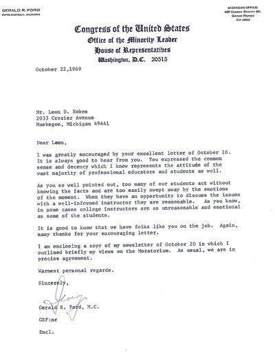 Washington, 22 October 1969. Letter. Fine. Interesting letter on Office of the Minority Leader stati...