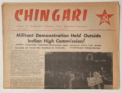 Toronto: Hindustani Ghadar Party, 1972. 8p. tabloid format newspaper, horizontal fold crease, paper ...
