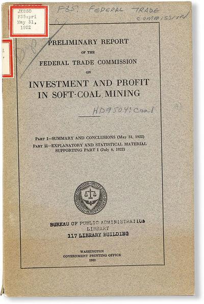 Washington DC: Government Printing Office, 1922. First Edition. Paperback. Octavo (ca. 25cm.); publi...