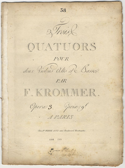 Paris: Ice. Pleyel et Fils aîné , 1828. Folio. Disbound. Violino primo: 1f. (title), (blank), 2-15...