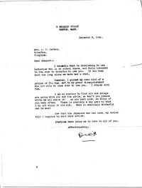 5 Typed Letters Signed (Dick) to the wife of his mentor and old friend, Adam C. (Kit) Carson