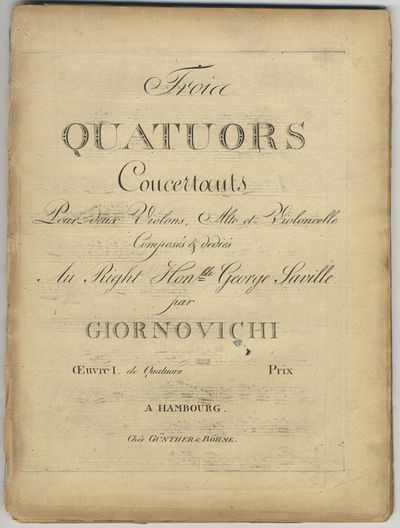 Hambourg: Günther & Böhme , 1800. Folio. Disbound. Violino 1mo: (title), 2-16 pp.; Violino 2do: (t...
