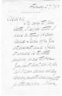 image of Letter Signed to an iunnamed correspondent (Sir Herbert Beerbohm, 1852-1917, Actor-Manager)