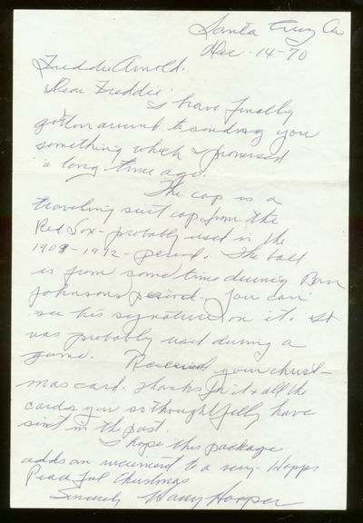 Unbound. Fine. One page Autograph Letter Signed. Dated Dec-14-70. Fine, folded as mailed. Hall of Fa...