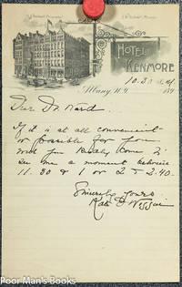 KATE DOUGLAS WIGGIN. ANS. AUTOGRAPH NOTE SIGNED CIRCA 1880