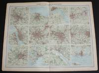 """image of Plans of """"Town of England & Scotland"""" from the 1920 Times Atlas (Plate 26) with Glasgow, Edinburgh, Hull, Newcastle, Liverpool, Manchester, Birmingham, Bradford and Leeds, Bristol, Plymouth, Southampton and Portsmouth"""