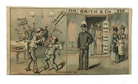 A Two panel Anti-Chinese Trade card promoting Smith & Co., a store located at 210 Chapel Street in New Haven, Ct