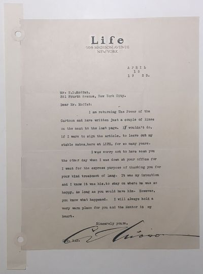 New York, 1923. unbound. very good. 1 page, 9.5 x 7.5 inches, New York City, April 18, 1923, signed ...