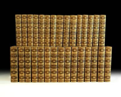London: Chapman and Hall. Complete set of Charles Dickens' works. Octavo, 30 volumes, bound in three...