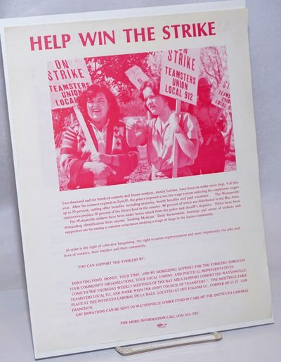San Francisco: Bay Area Support Committee - Watsonville Teamsters Local 912, 1985. 8.5x11 inch handb...