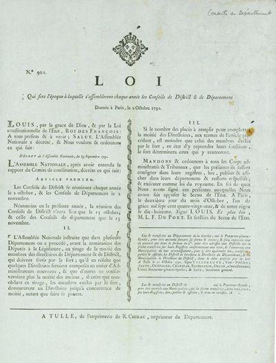 Tulle: de l'Imprimerie de R. Chirac, 1791. On blue paper, ornamental headpiece. 1 vols. ca. 13 x 16 ...
