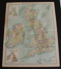 "image of County Map of the British Isles from the 1920 Times Atlas (Plate 17 ""The British Isles - Political"") with inset maps showing Population Density and Industry Sketch Map"