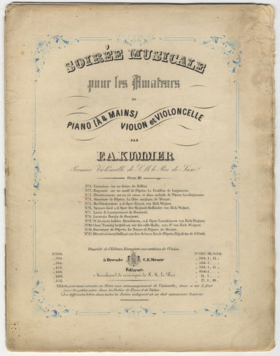 Dresde: C.F. Meser , 1841. Folio. Unbound. Pianoforte (primo and secondo): (title printed within blu...