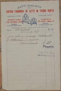 GATTI GIACINTO ANTICA FABBRICA DI LETTI IN FERRO VUOTO ROMA LI 3 APRILE 1907